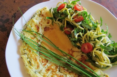 Grandma's Frittata with Squash Ribbon Salad